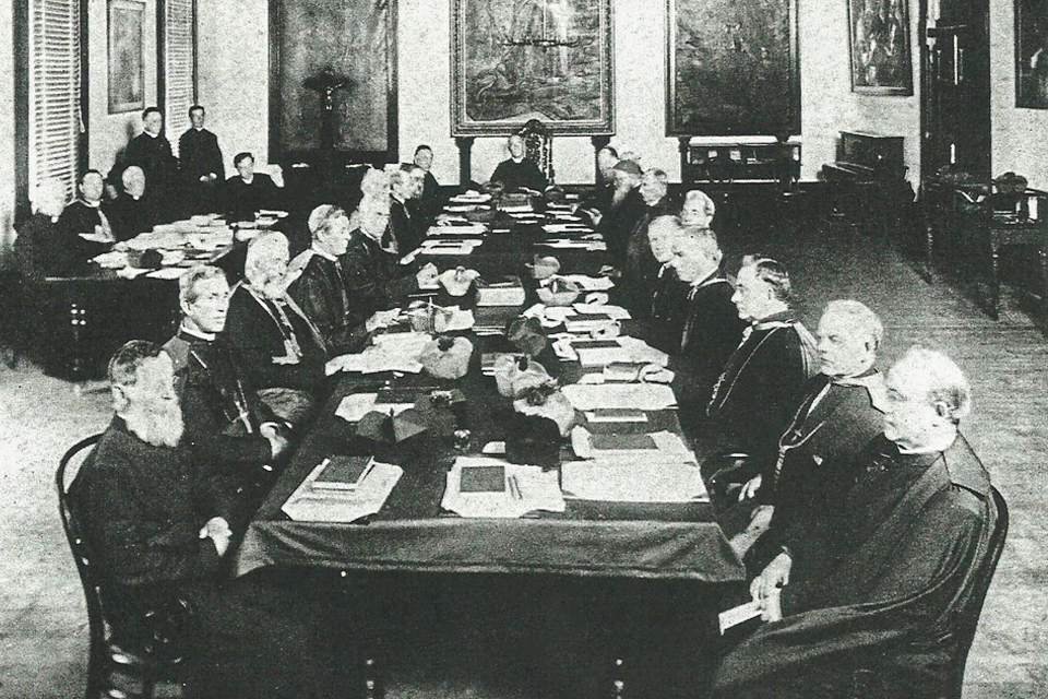 Assembled Bishops of Australia at the 1895 second Australian Plenary Council. Photo taken in the Aula Maxima of St Patrick's College in New South Wales. Photo: MDHC, published in Footprints (October 1974) and The Swag 2019.