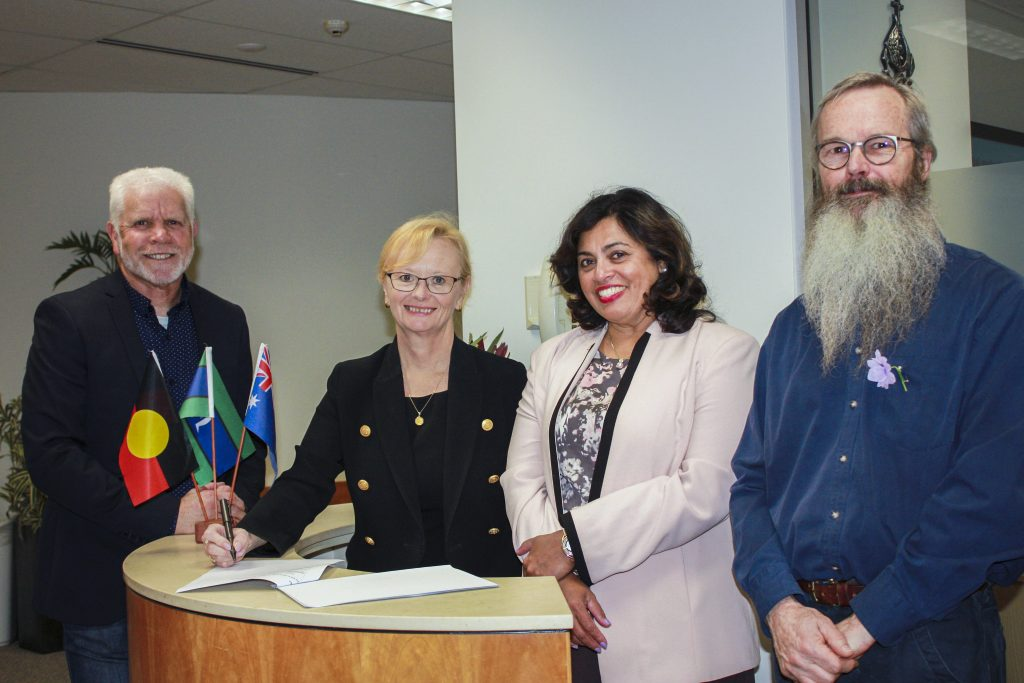 From left: Associate Professor Clive Walley, Notre Dame Director Indigenous Education; Professor Shirley Bowen, Chief Executive of St John of God Subiaco Hospital; Professor Selma Alliex, Notre Dame Pro Vice Chancellor and Head of Fremantle Campus; and Professor David Paul, Notre Dame Associate Dean in Aboriginal Health. Photo: Supplied.