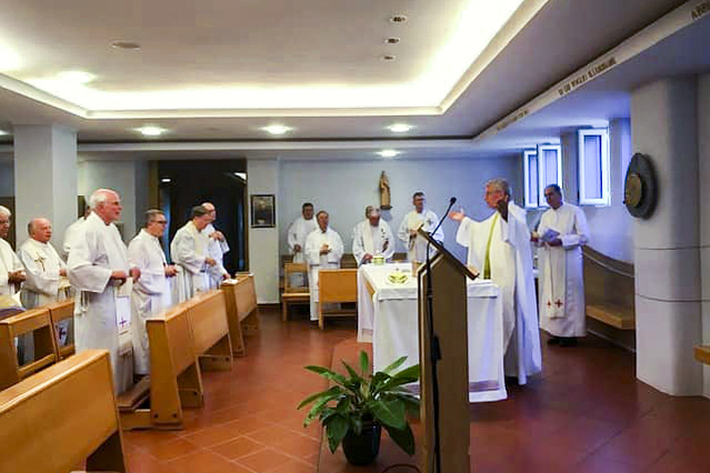 Archbishop Timothy Costelloe celebrates Mass with fellow Australian Bishops in Rome this week. Photo: ACBC/Facebook.