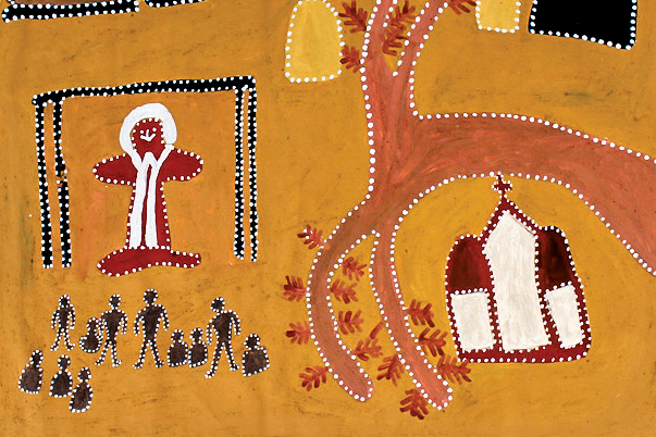 People talking to Jesus in the Brough shed, by the late Queenie McKenzie of Warmun was selected as the artwork for the Aboriginal and Torres Strait Islander Sunday 2019 Poster. Photo: Supplied.
