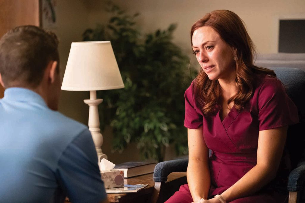 "Ashley Bratcher, who plays Abby Johnson, is pictured in a scene from the movie ""Unplanned"", the story of Abby Johnson, a former Planned Parenthood clinic director, and her decision to join the pro-life movement. Photo: CNS."