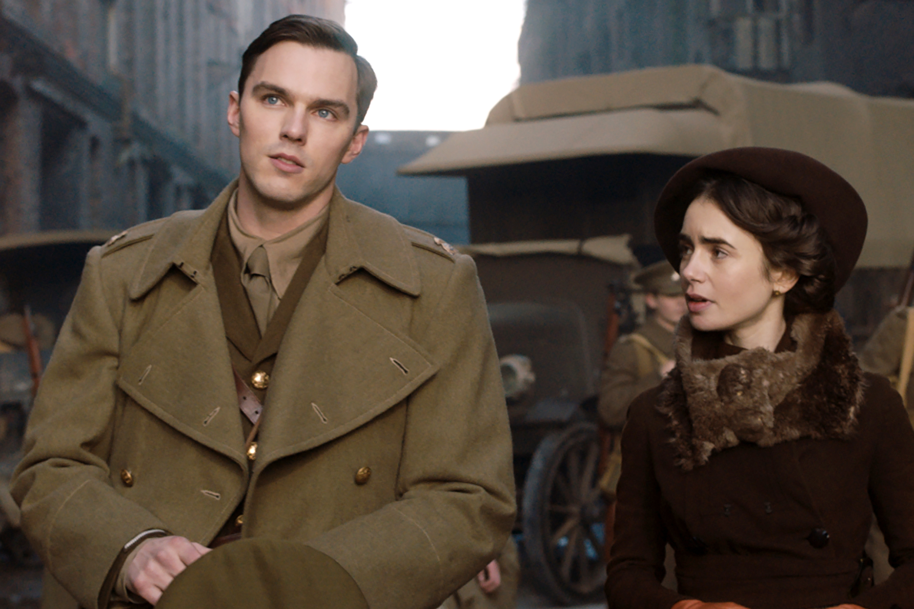 Nicholas Hoult and Lily Collins star in a scene from the movie