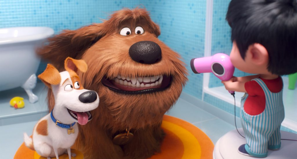 """Max, voiced by Patton Oswalt, Duke, voiced by Eric Stonestreet, and Liam, voiced by Henry Lynch, appear in the animated movie """"The Secret Life of Pets 2"""". Photo: Universal/CNS."""