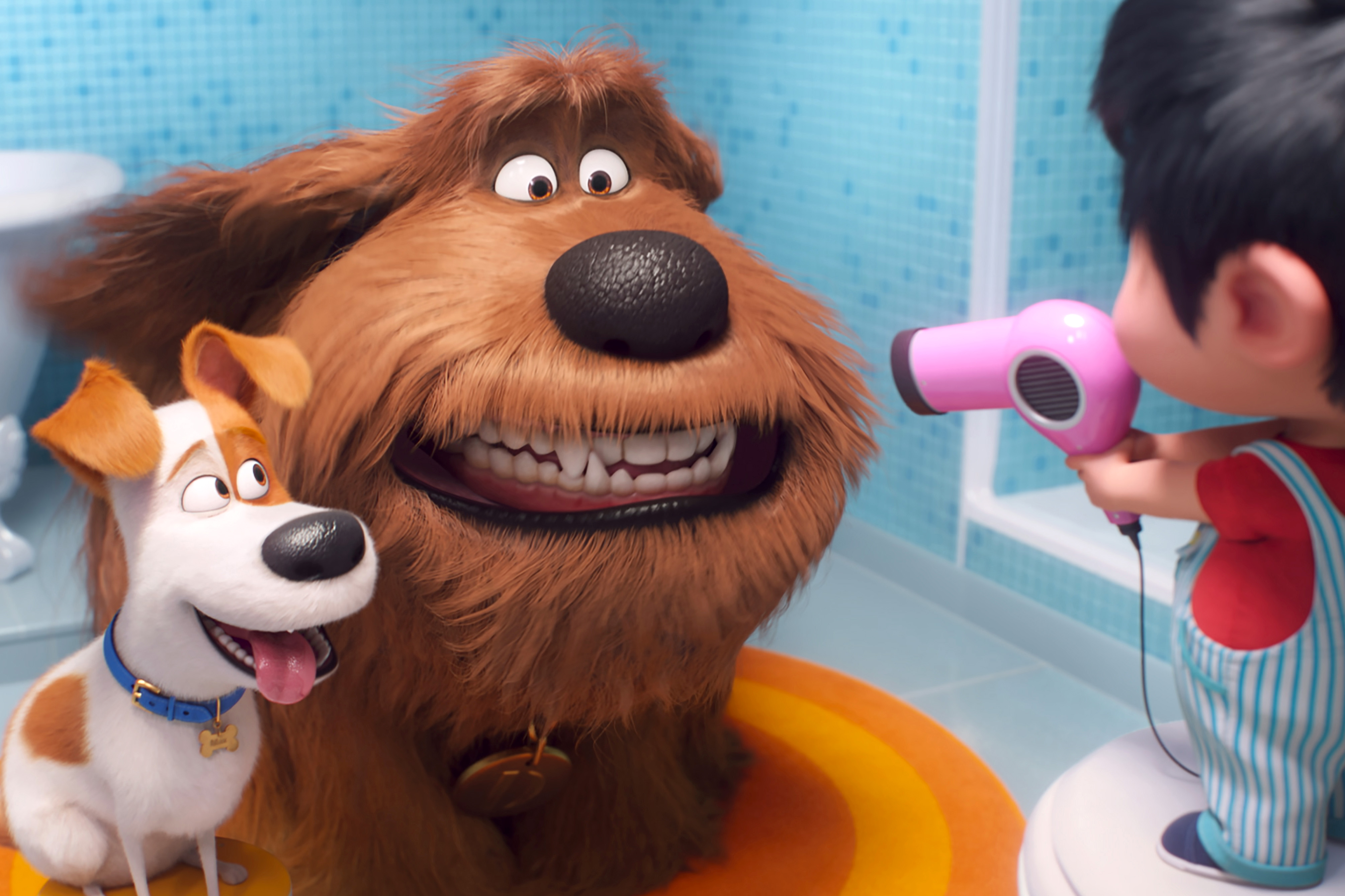 Max, voiced by Patton Oswalt, Duke, voiced by Eric Stonestreet, and Liam, voiced by Henry Lynch, appear in the animated movie