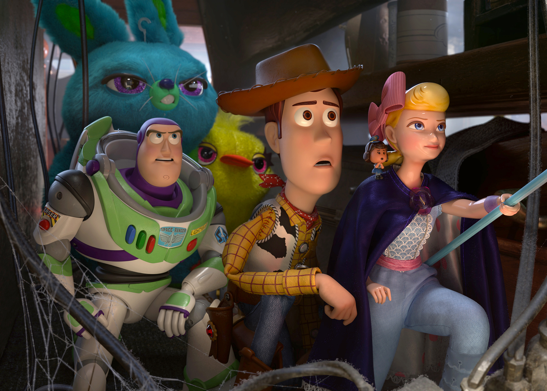 Animated characters Buzz Lightyear (voiced by Tim Allen), Woody (voiced by Tom Hanks), and Bo (voiced by Annie Potts) appear in the movie