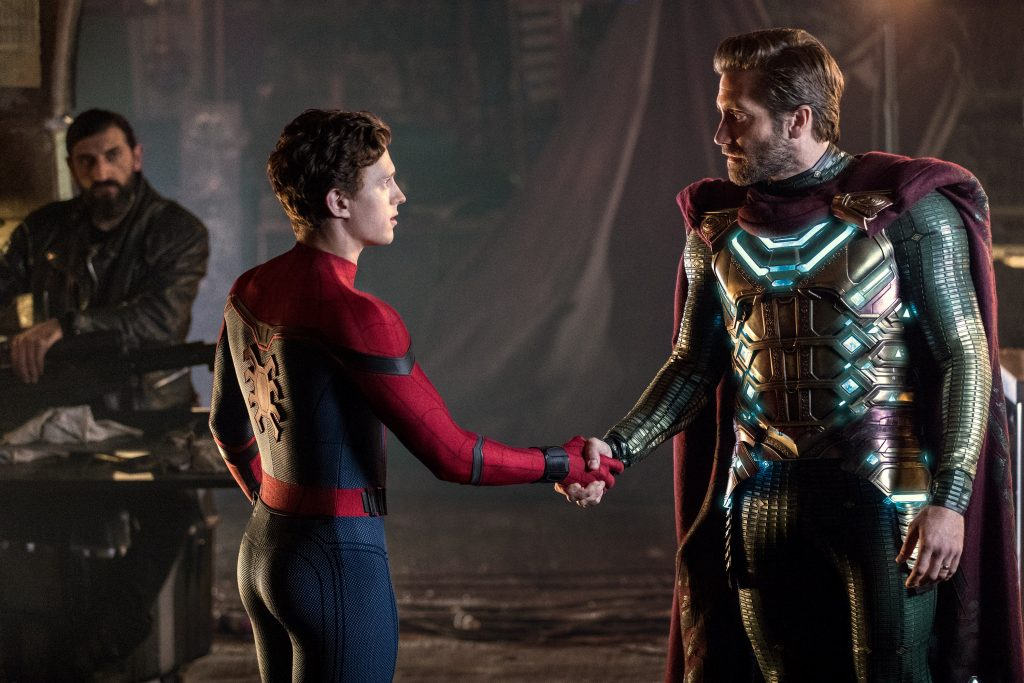 """Tom Holland and Jake Gyllenhaal star in a scene from the movie """"Spider-Man: Far From Home"""". Photo: Sony/CNS."""