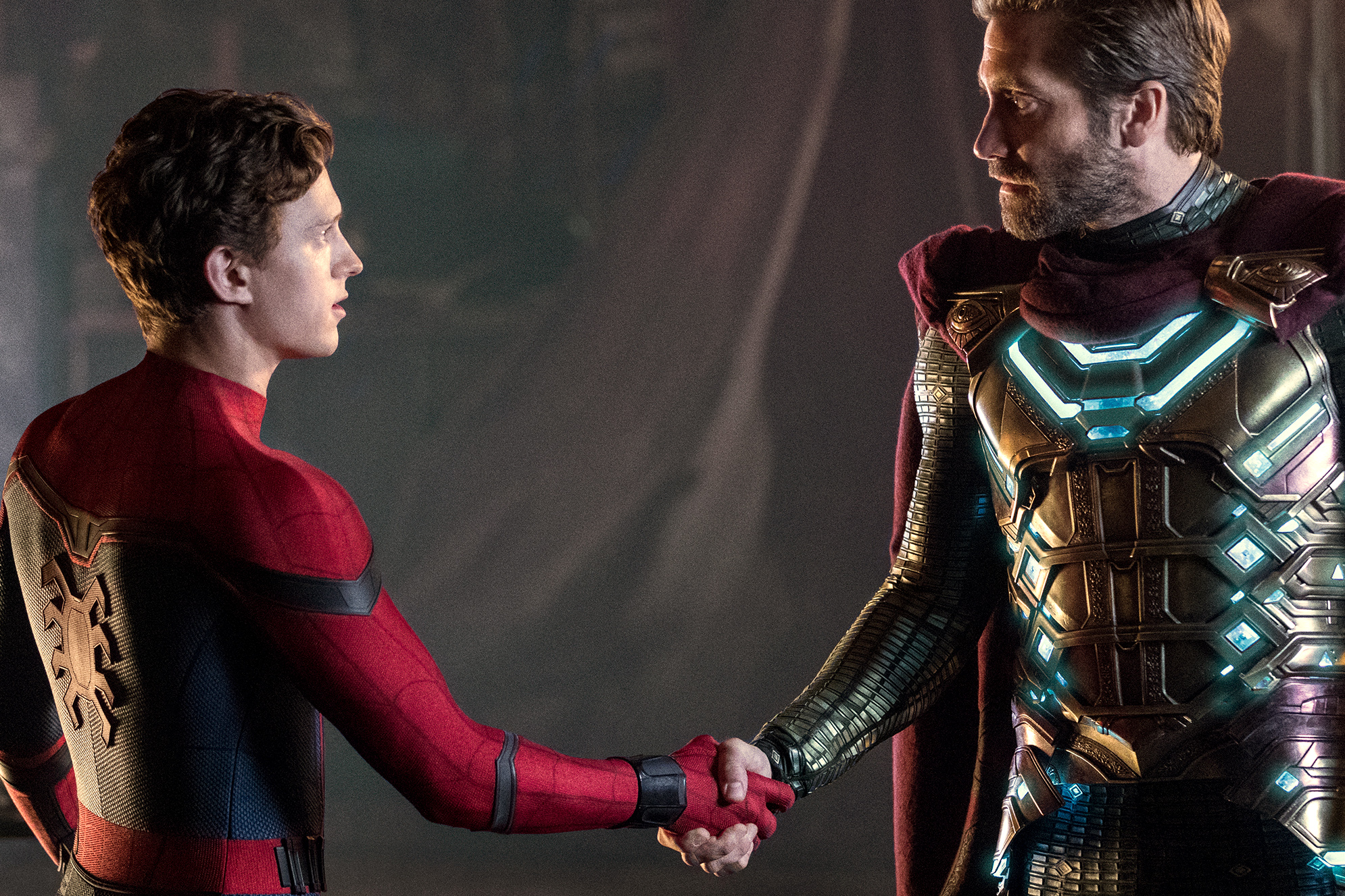 Tom Holland and Jake Gyllenhaal star in a scene from the movie