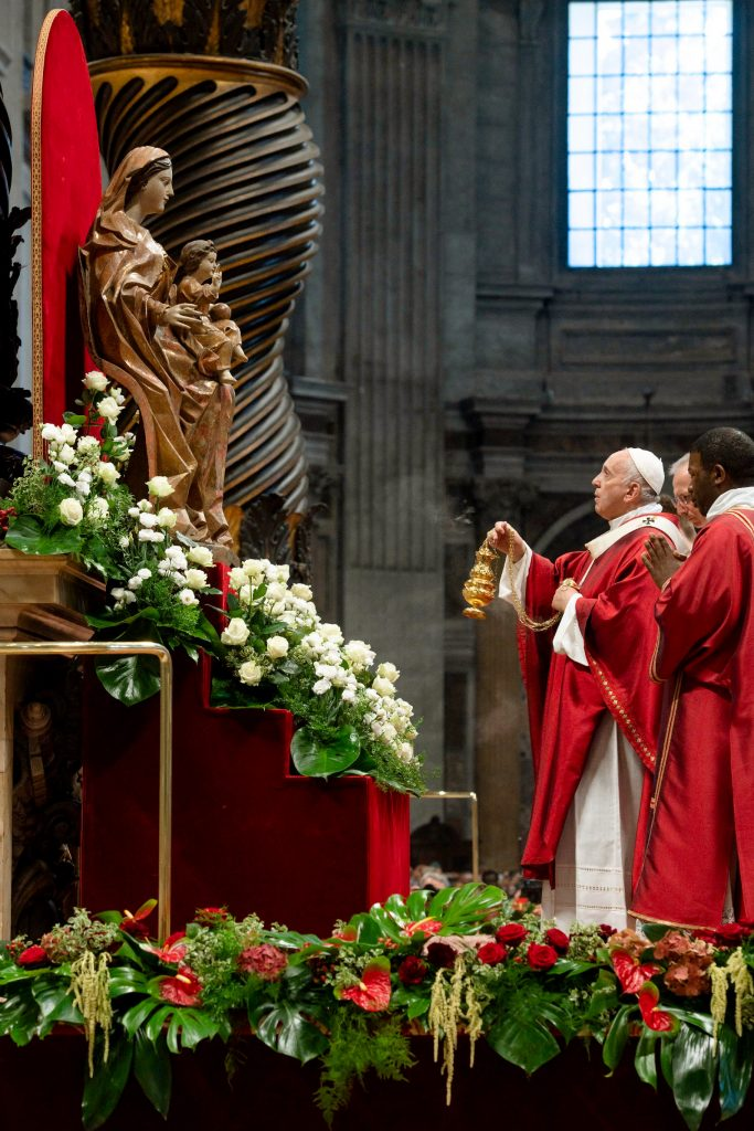 Pope Francis burns incense as he venerates a Marian statue during Mass marking the feast of Sts Peter and Paul in St Peter's Basilica at the Vatican on 29 June 2019. After the Mass the Holy Father presented the pallium to new archbishops from around the world. Photo: Vatican Media/CNS.