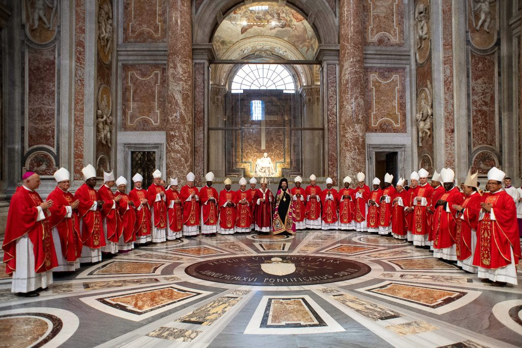 New Archbishops from around the world attend Pope Francis' celebration of Mass marking the Feast of Sts Peter and Paul in St Peter's Basilica at the Vatican on 29 June 2019. After the Mass the Pope presented the pallium to the new Archbishops. Photo: Vatican Media/CNS.