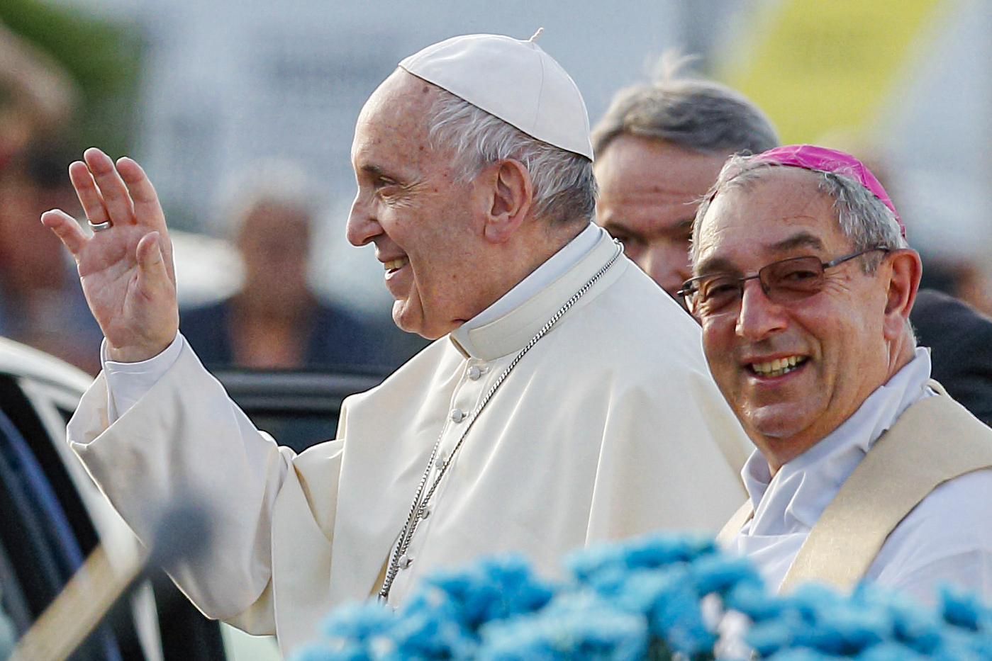 Pope Francis and Cardinal Angelo De Donatis, papal vicar for the Diocese of Rome, are pictured after a Mass in Ostia, a suburb of Rome, in this 3 June 2018, file photo. Cardinal De Donatis has asked every pastor in the Diocese of Rome to form a team for neighborhood missionary outreach. Photo: Paul Haring/CNS.