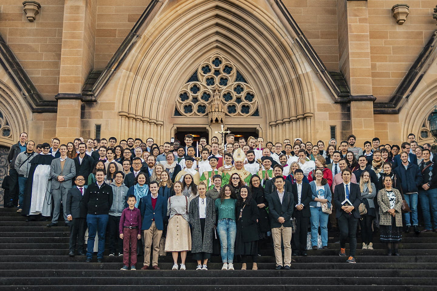 Attendees of the Australian Catholic Students Association (ACSA) at St Mary's Cathedral, Sydney. Photo: Supplied.