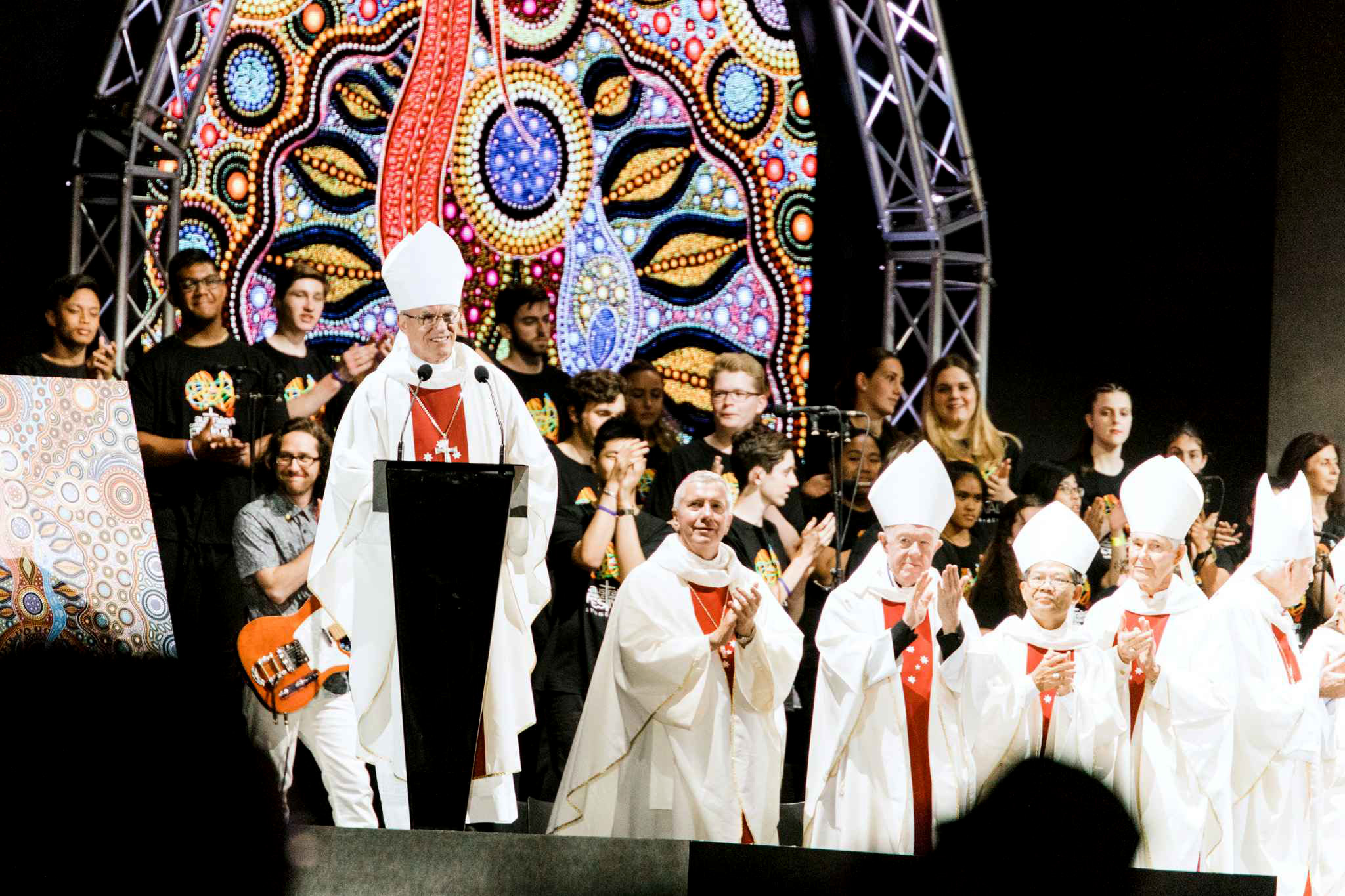 Archbishop Timothy Costelloe invites youth to attend the 2019 ACYF during the final Mass of ACYF 2017. The countdown is on with less than 150 days until doors open on the fourth Australian Catholic Youth Festival 2019 (ACYF19) to be held in Perth, 8 to 10 December. Photo: Cyron Sobrevinas.