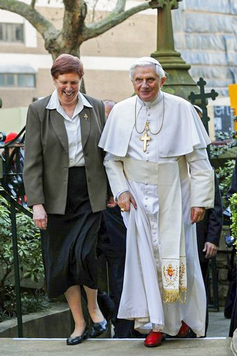 Sr Anne Derwin RSJ pictured with Pope Benedict XVI. Photo: Sourced.