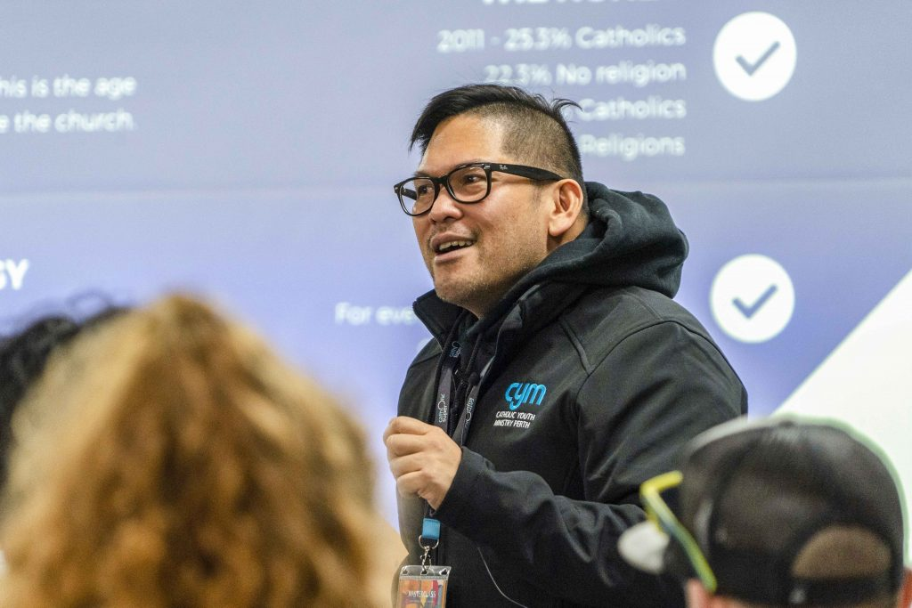 """Catholic Youth Ministry Director Vincent Haber is seen delivering his session titled """"The 'why' in Youth Ministry"""" for the Masterclass event held from 5 to 7 July at the Advent Park Convention Centre in Kalamunda. Photo: Josh Low."""