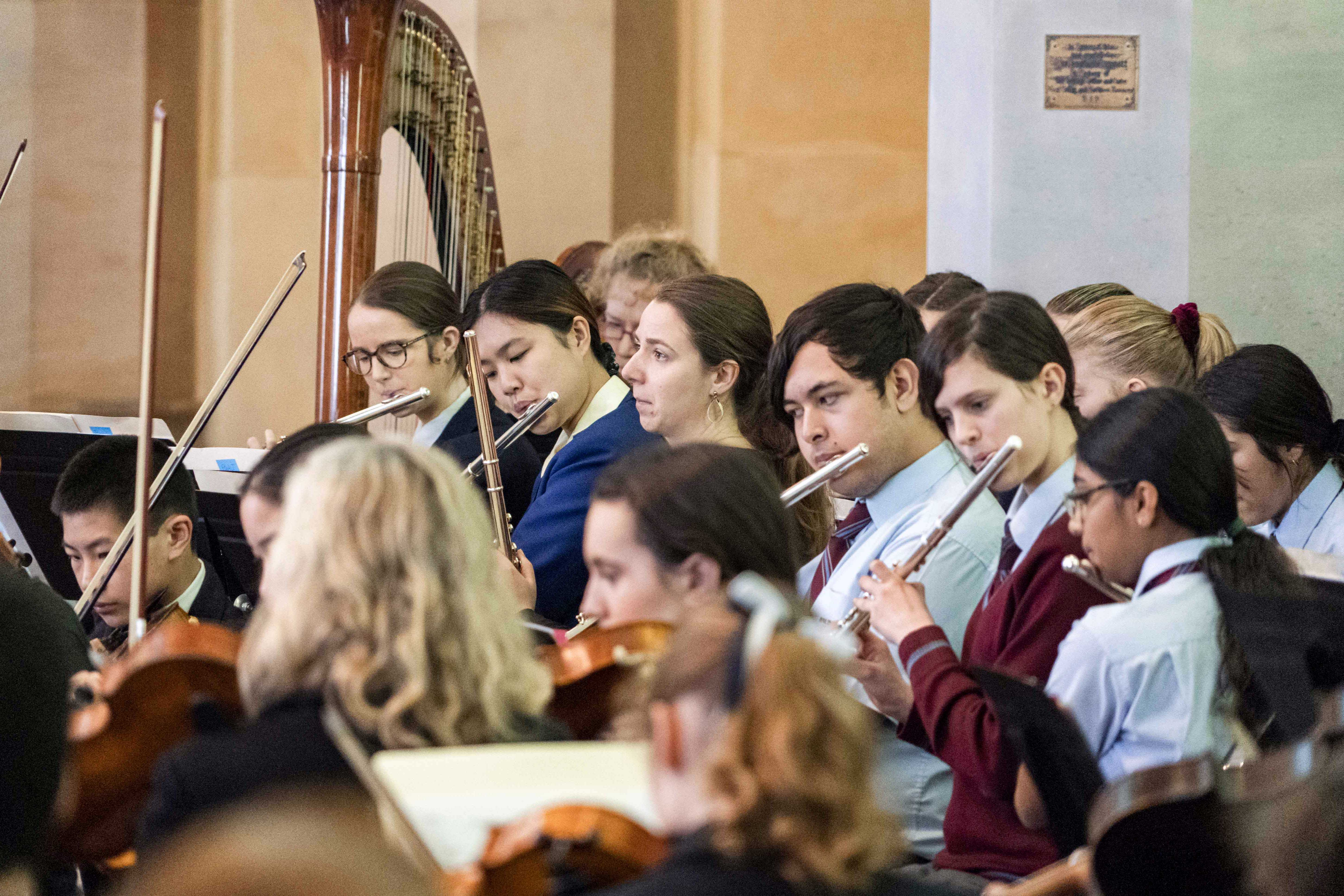 About 110 WA students contributed musically to this year's Cathedral Orchestral Mass. Photo: Matthew Lau. Photo: Matthew Lau.