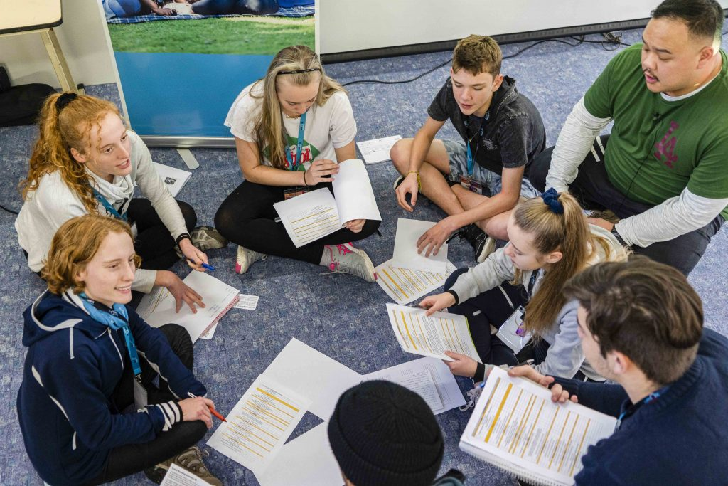 """Masterclass participants take part in group discussions during a talk headed by Clarence Goh titled """"BTS of a Youth Group"""". Photo: Josh Low."""