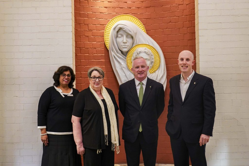 Prof Whelan (second from left) stands with Head of Fremantle Campus Professor Selma Alliex, Honorary Irish Consulate of Perth Marty Kavanagh and Director of Archives for the Archdiocese of Perth Odhran O'Brien. Photo: Supplied.