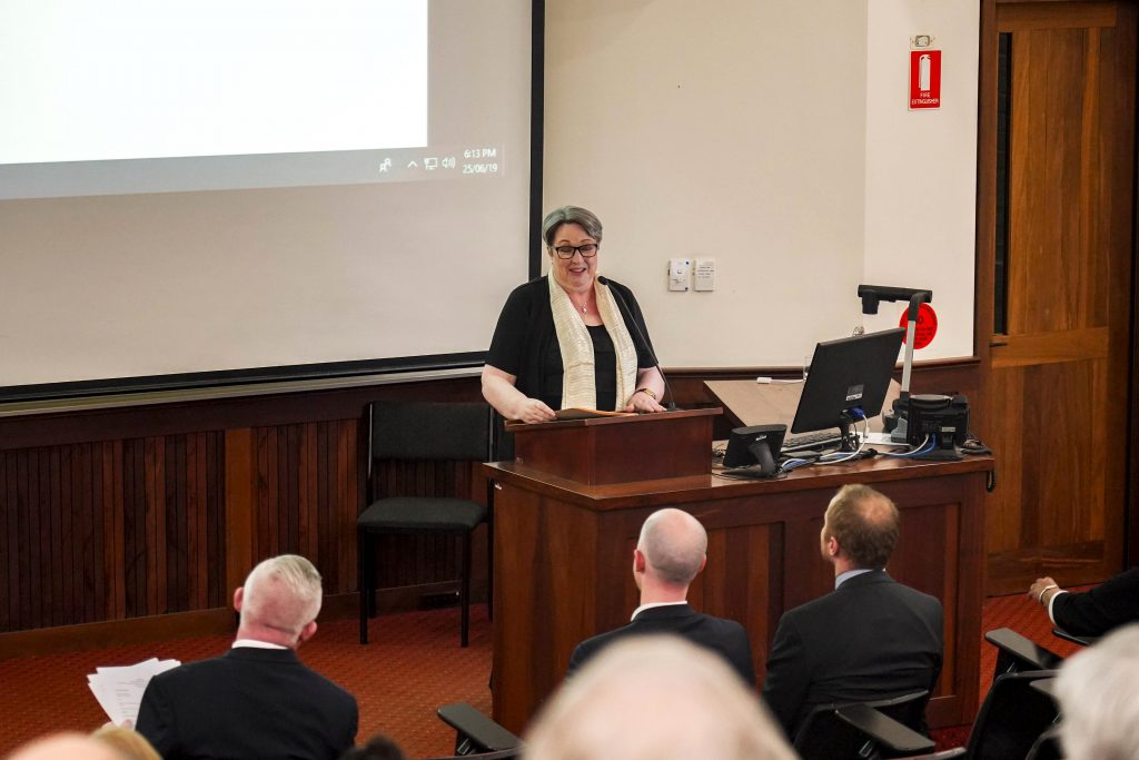 Professor Irene Whelan delivered her paper titled Ireland's Destiny Unleashed: Catholic Culture and Identity in Ireland, 1916-1937 on Tuesday 25 June at the University of Notre Dame Fremantle Campus. Photo: Supplied.