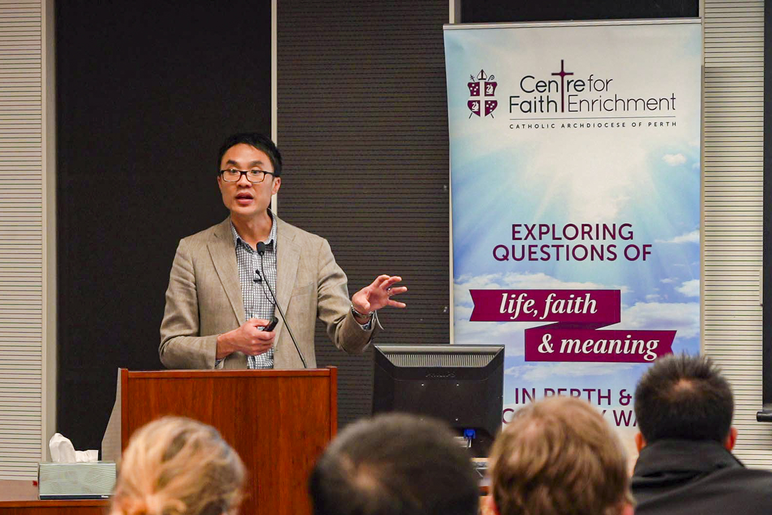 Daniel Ang, the Director of Parish 2020, during his address at Newman Siena Centre on 4 July. Photo: Josh Low.