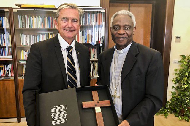Chris Ellison with His Eminence Cardinal Peter Turkson (Prefect of the Dicastery for Promoting Integral Human Development. Photo: Supplied.