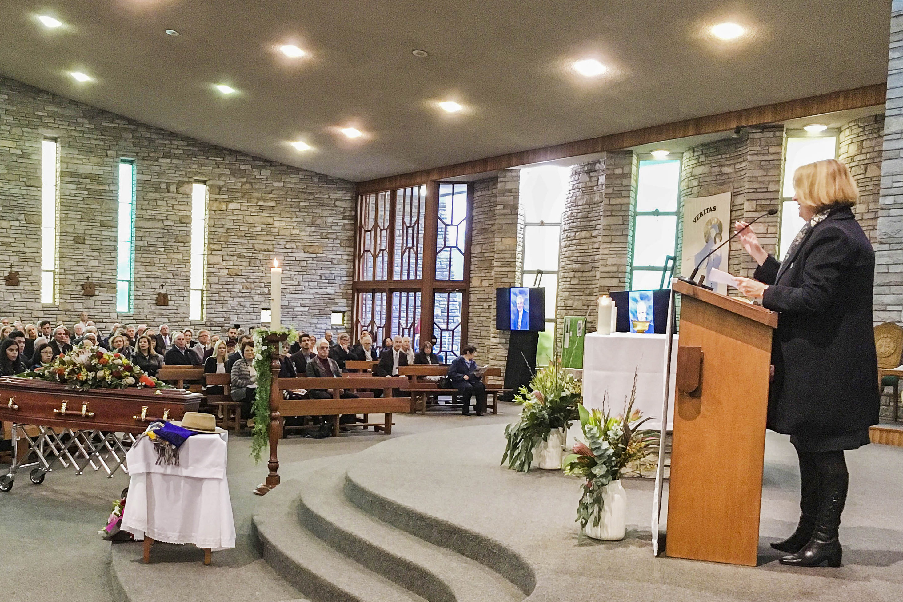 Police Minister Michelle Roberts delivers the parliamentary eulogy for John Kobelke at Our Lady of the Rosary Church, Doubleview Parish. Photo: Supplied.