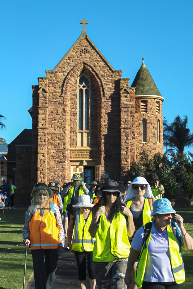 Pilgrims on the Camino San Francisco leave The Church of Our Lady in Ara Coeli, Northampton WA. Photo: Supplied.