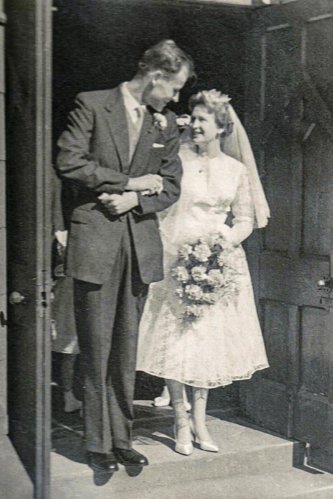 The couple at their wedding, which took place in England at the parish church of St Anne's on 29 August 1959. Photo: Peter Dymond.