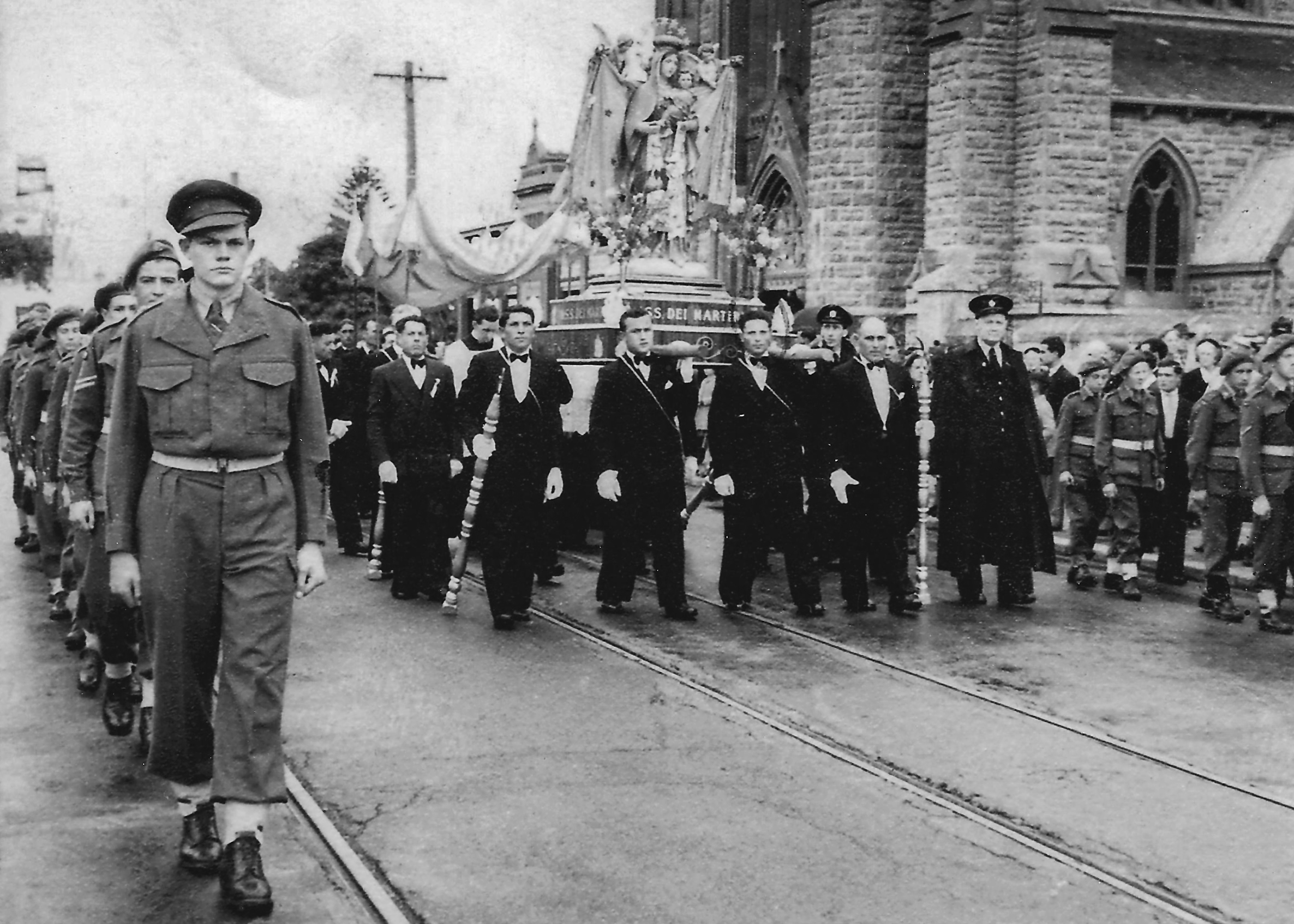 Blessing of the Fleet 1948, with participants still dressed in military uniform post WWII. Photo: Archives.