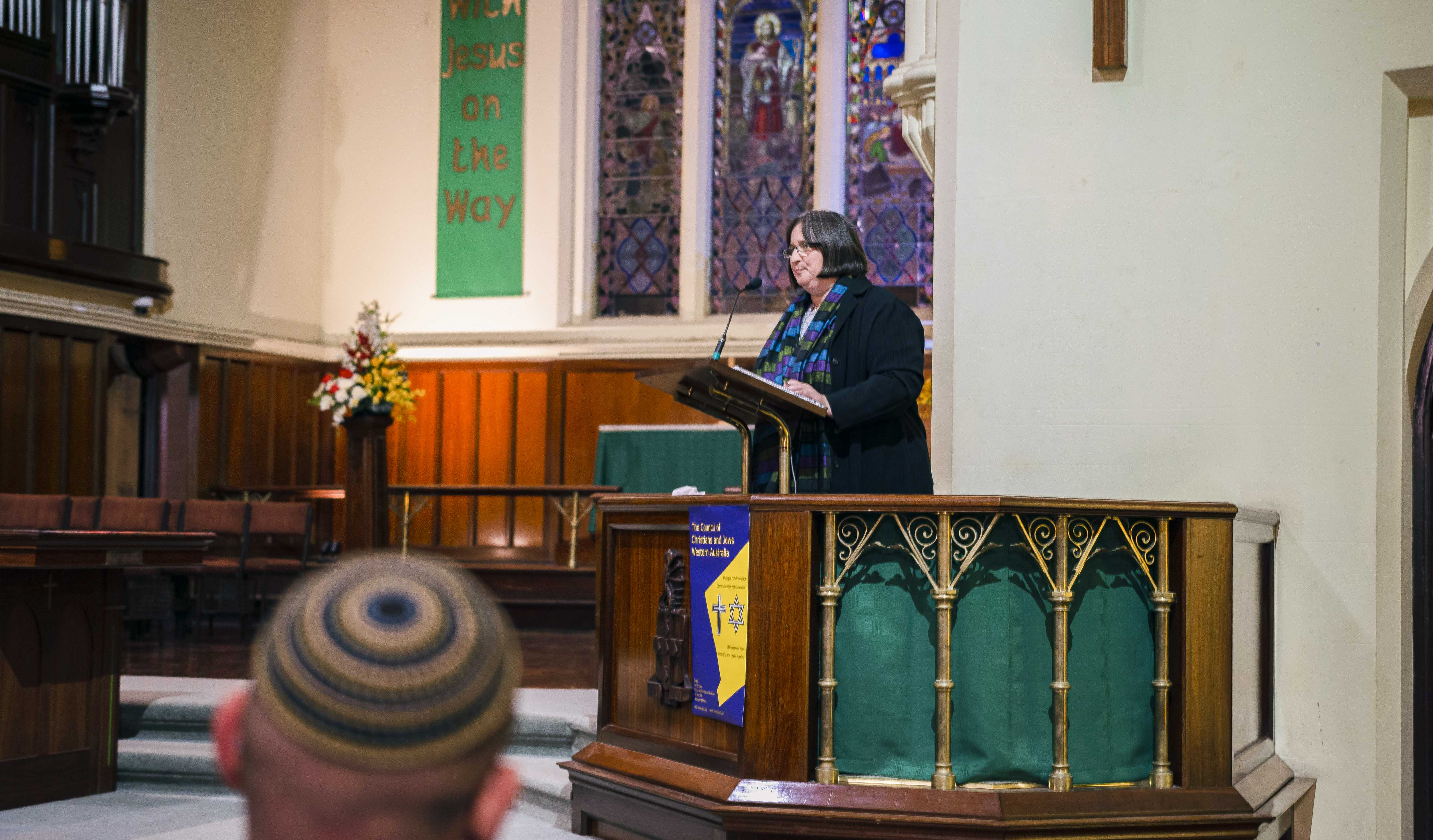 """Anette Adelmann, General Secretary of the International Council of Christians and Jews, delivers her seminar """"Antisemitism: What can we do?"""" to the CCJWA on Monday 12 August. Photo: Eric Martin."""