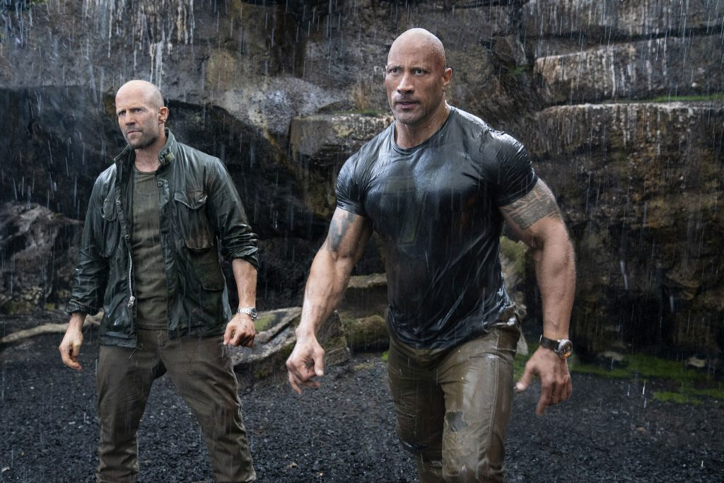 """Jason Statham and Dwayne Johnson star in a scene from the movie """"Fast & Furious Presents: Hobbs & Shaw"""". Photo: Universal/CNS."""