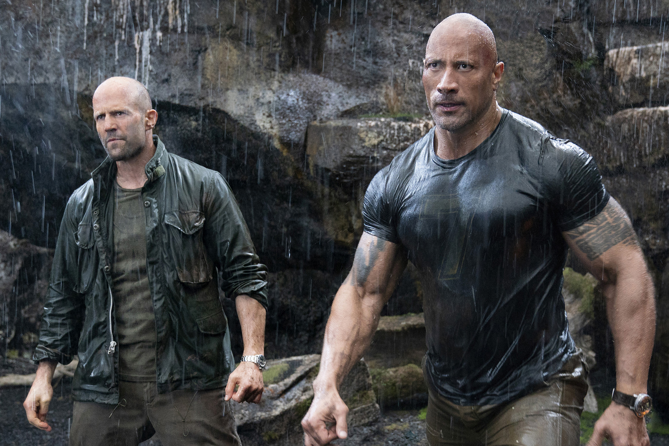 Jason Statham and Dwayne Johnson star in a scene from the movie