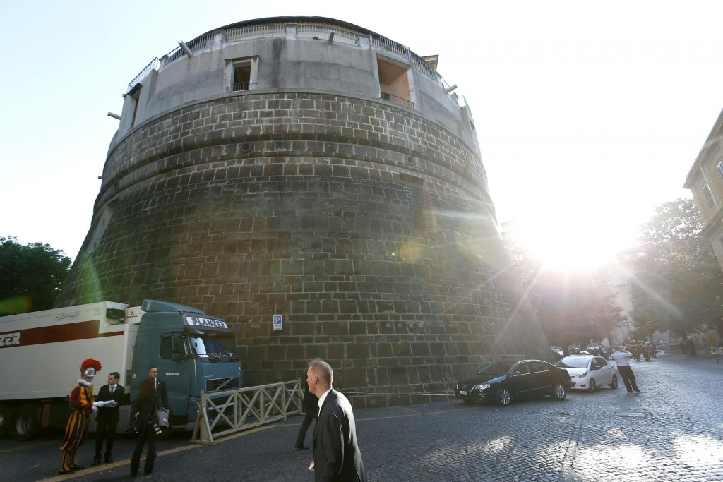 The tower of the Institute for Works of Religion, often referred to as the Vatican bank, is pictured at the Vatican on 6 May 2016. Pope Francis has approved new statutes for the bank that include structural changes and a mandatory external audit. Photo: Paul Haring/CNS.