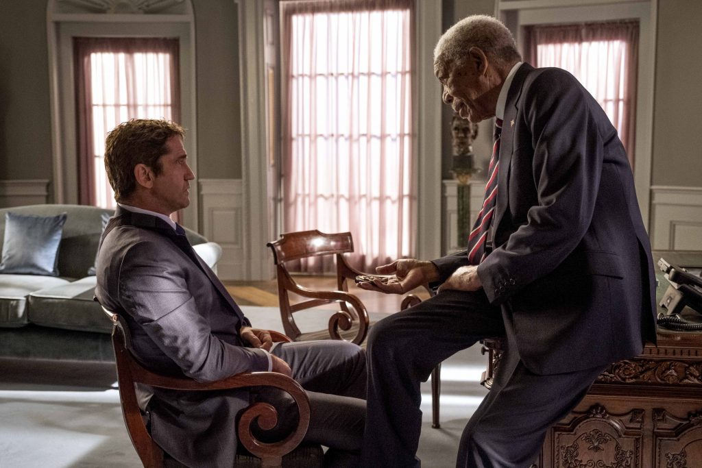 """Gerard Butler and Morgan Freeman star in a scene from the movie """"Angel Has Fallen"""". Photo: Lionsgate/CNS."""