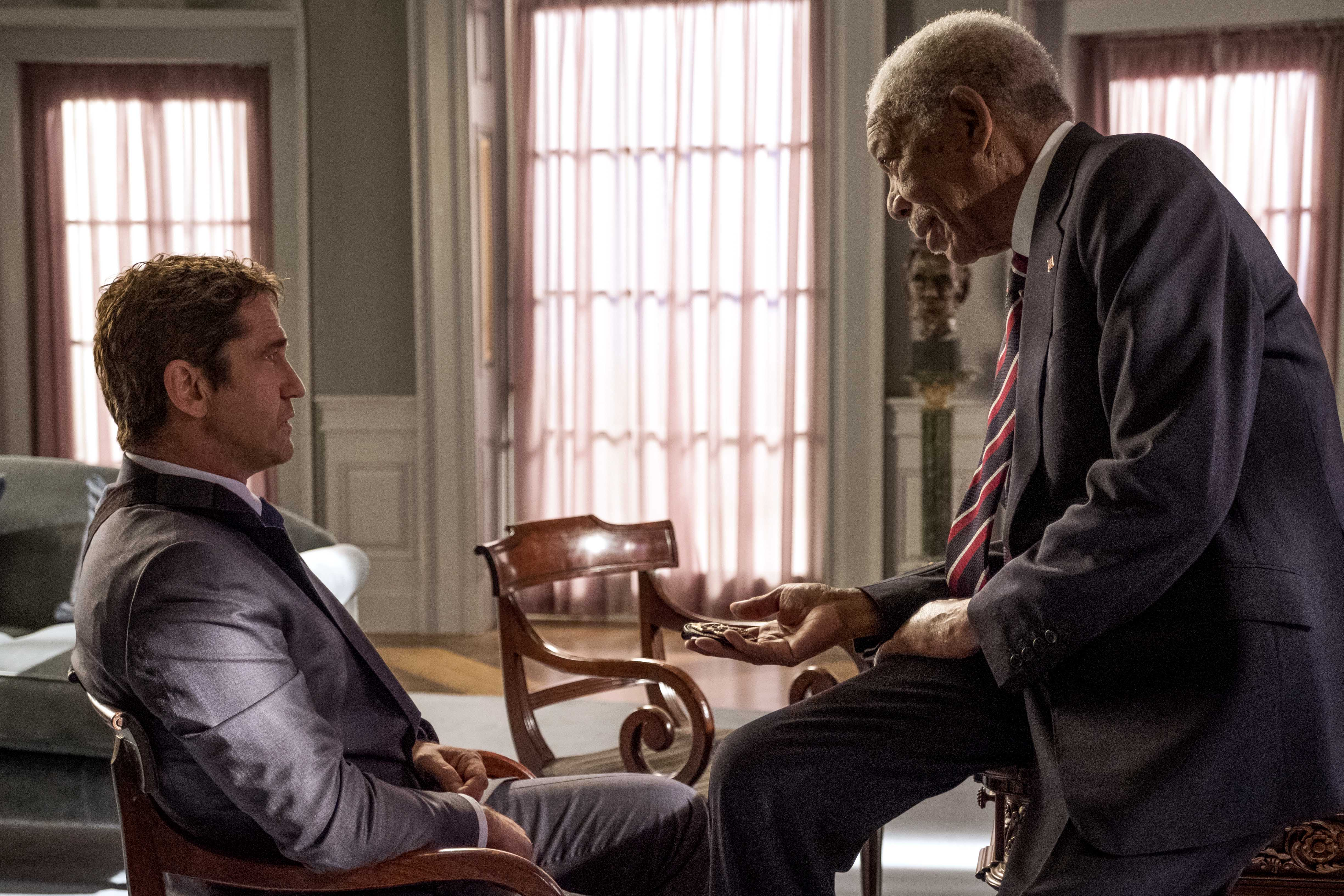 Gerard Butler and Morgan Freeman star in a scene from the movie