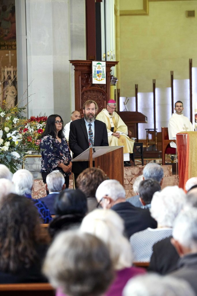 Director of the Centre for Life, Marriage and Family for the Archdiocese of Perth, Derek Boylen and his wife Karen Boylen spoke at the conclusion of the Marriage Day Mass held at St Mary's Cathedral on 10 August. Photo: Ron Tan.