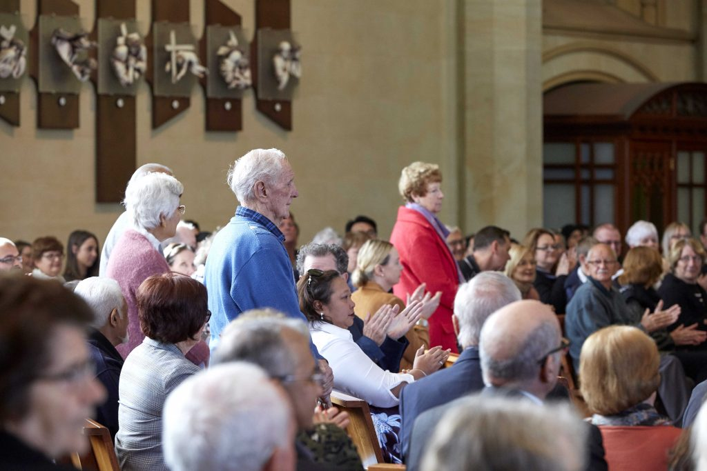 There were three couples who celebrate their 70 years or more of Marriage. They were acknowledged at the Marriage Day Mass held at St Mary's Cathedral on 10 August. Photo: Ron Tan.