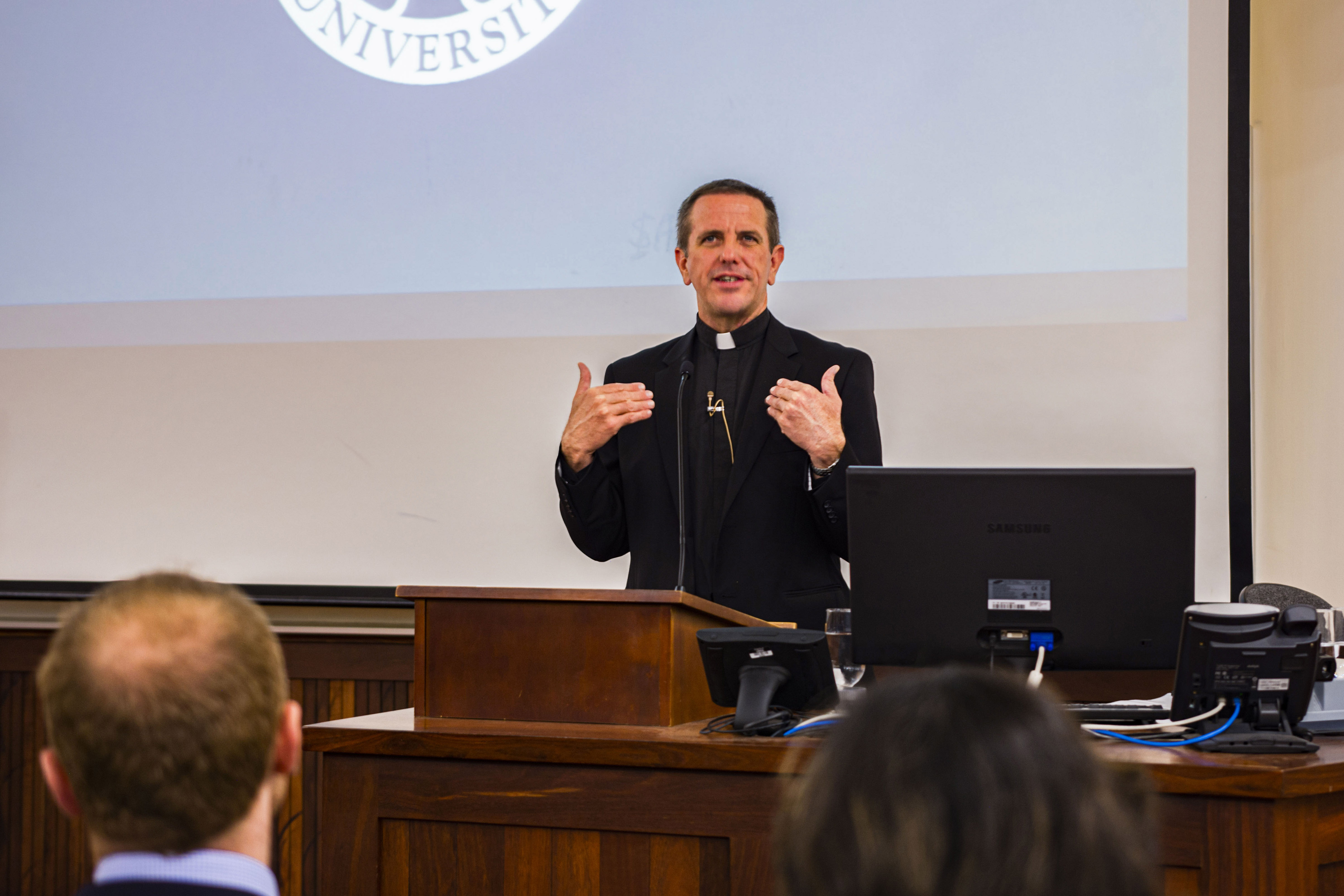 Fr Chris Collins SJ, an US expert in Jesuit spirituality, speaks at the public lecture on Three Moments of the Day: Praying with the Heart of Jesus, at the University of Notre Dame Australia, Fremantle, Thursday 25 July, 2019. Photo: Eric Martin.
