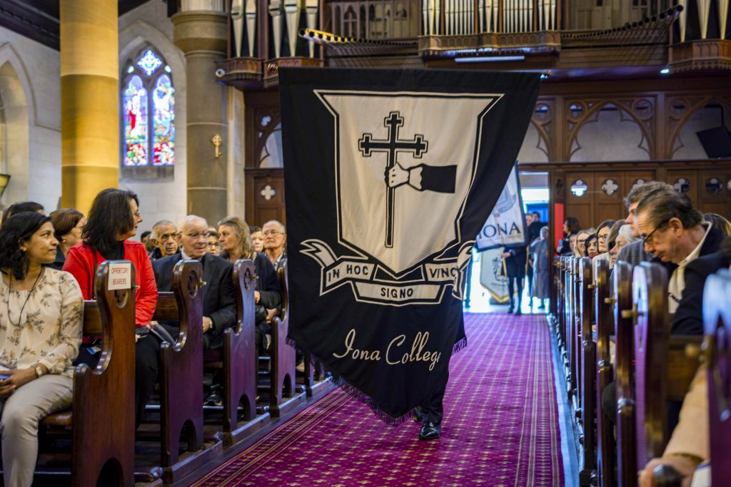 The Oblates were led into St Patrick's Basilica by a procession of school flags and agency banners, all of whom have a long history of association with the Oblates. Photo: Eric Martin.