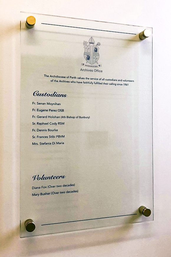 The newly installed Archives Office Honours Board, in recognition of all custodians and volunteers of the Archives who have faithfully fulfilled their calling since 1961, designed and installed by Creative Spaces. Photo: Supplied.