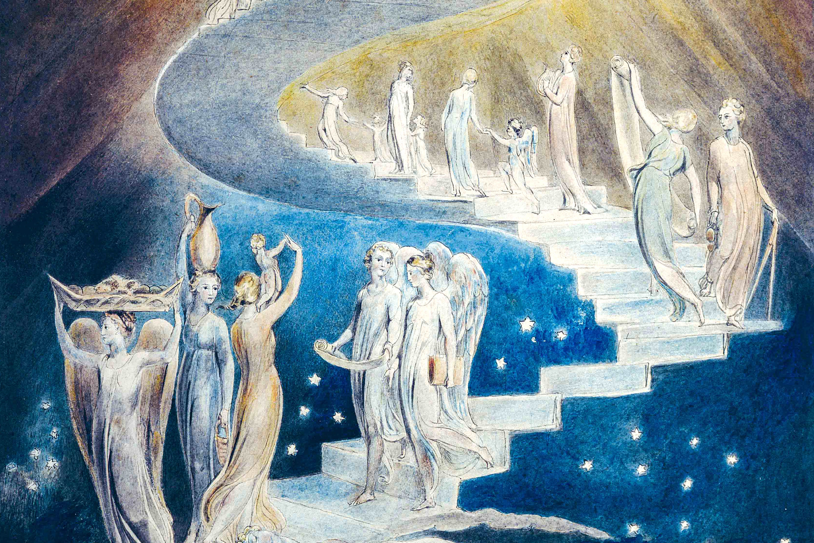 An image of William Blake's Jacob's Ladder, depicts a ladder leading to heaven that was featured in a dream Jacob had during his flight from his brother Esau in the Book of Genesis. Local academic Dr Philippa Martyr has last week spoken on dreaming from a neurological, psychological and Christian spiritual perspective. Photo: Wikipedia.