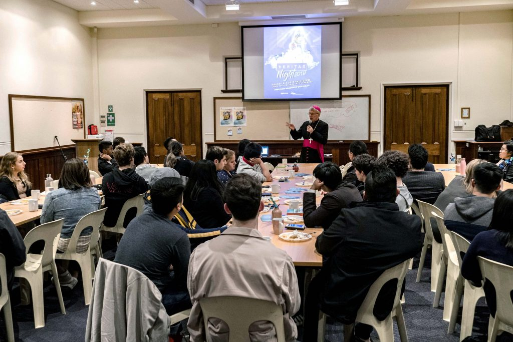 The Perth Archbishop addressed the young people present after Holy Hour in Highgate, sharing his thoughts on vocations and drawing from his own experiences. Photo: Josh Low.