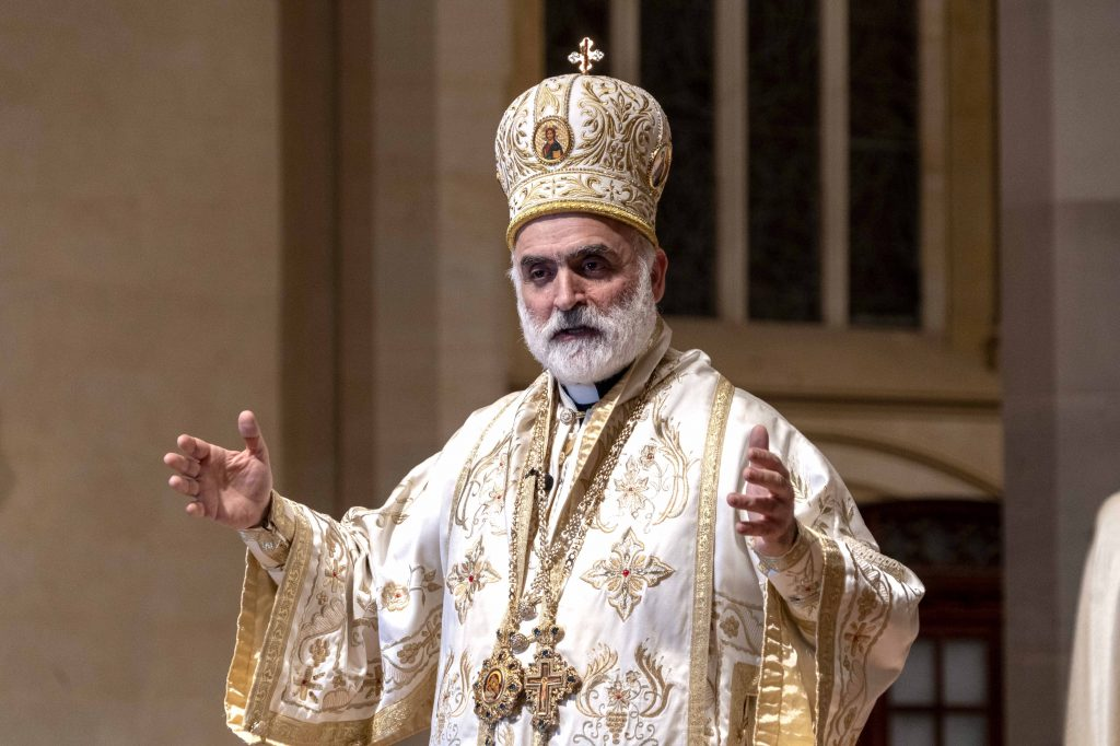 Bishop Rabbat addresses those present during the Divine Liturgy at St Mary's Cathedral on 23 August. Photo: Josh Low.