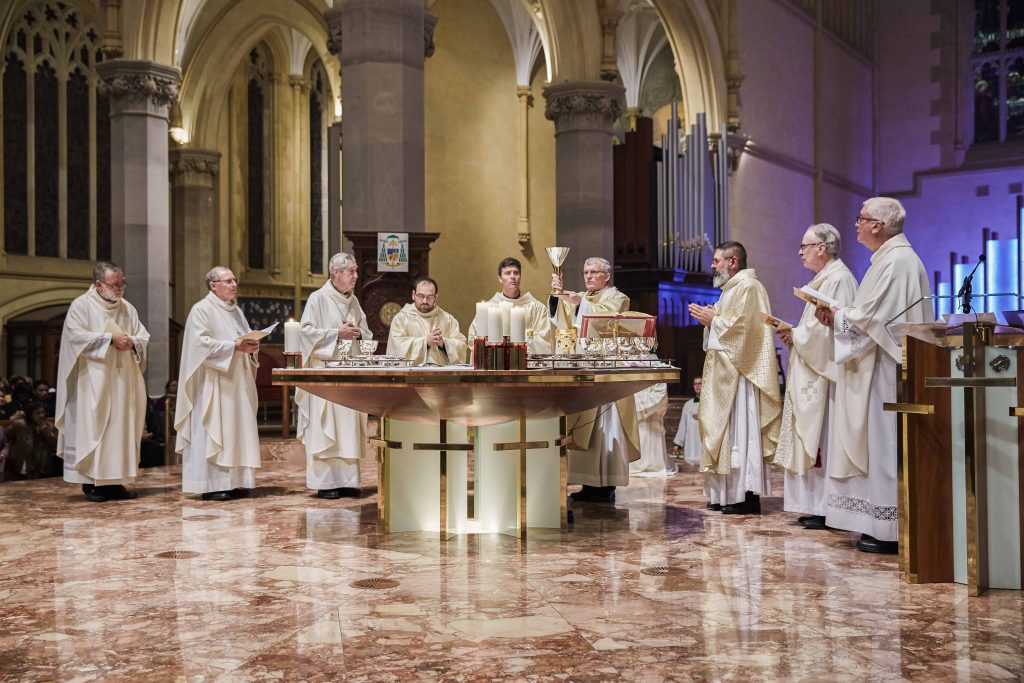 From left: Fr Michael Moore SM, Fr Peter Whitely VG, Emeritus Archbishop Barry Hickey, Fr Matteo Verdi, Fr Liam Ryan, Archbishop Timothy Costelloe SDB, Fr Mark Rucci, Auxiliary Bishop Donald Sproxton, and Fr Phillip Fleay celebrate the Eucharist at St Mary's Cathedral on 16 August. Photo: Ron Tan.