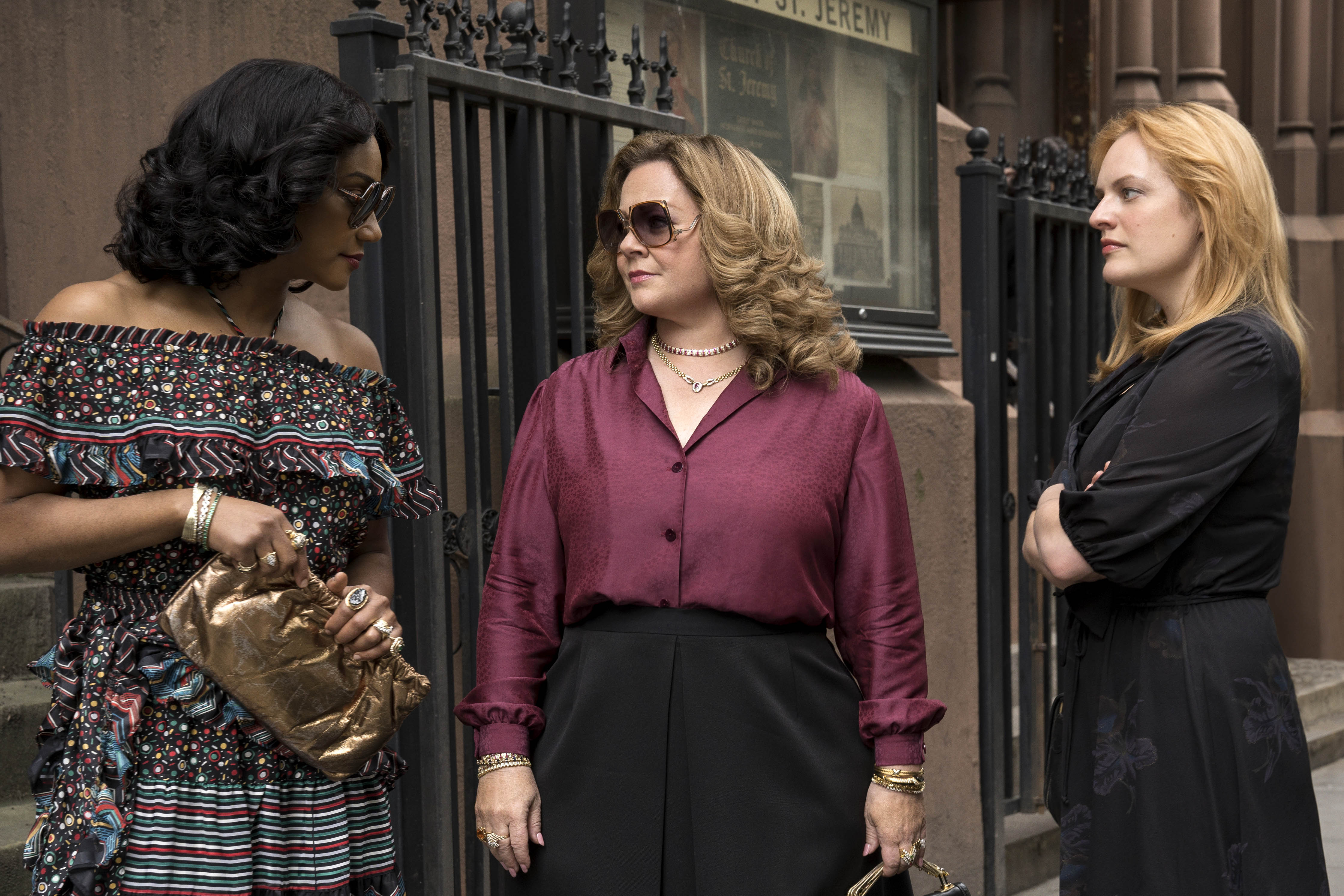 Tiffany Haddish, Melissa McCarthy, and Elisabeth Moss star in a scene from the movie