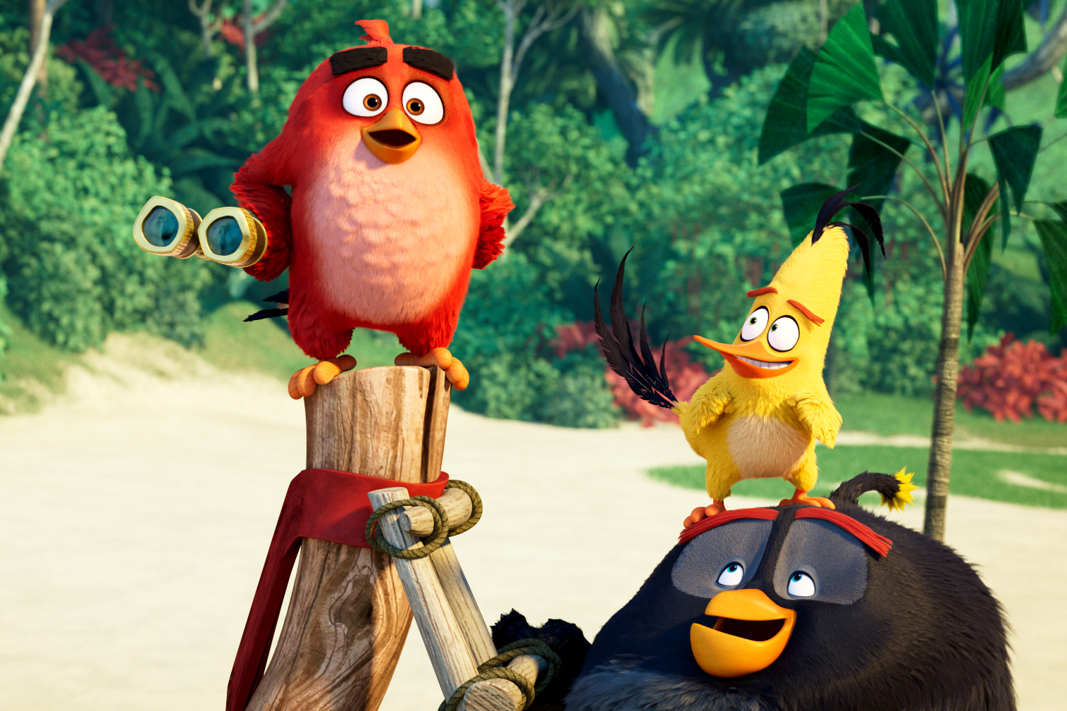 Animated characters Red (voiced by Jason Sudeikis), Chuck (voiced by Josh Gad), and Bomb (voiced by Danny McBride) appear in