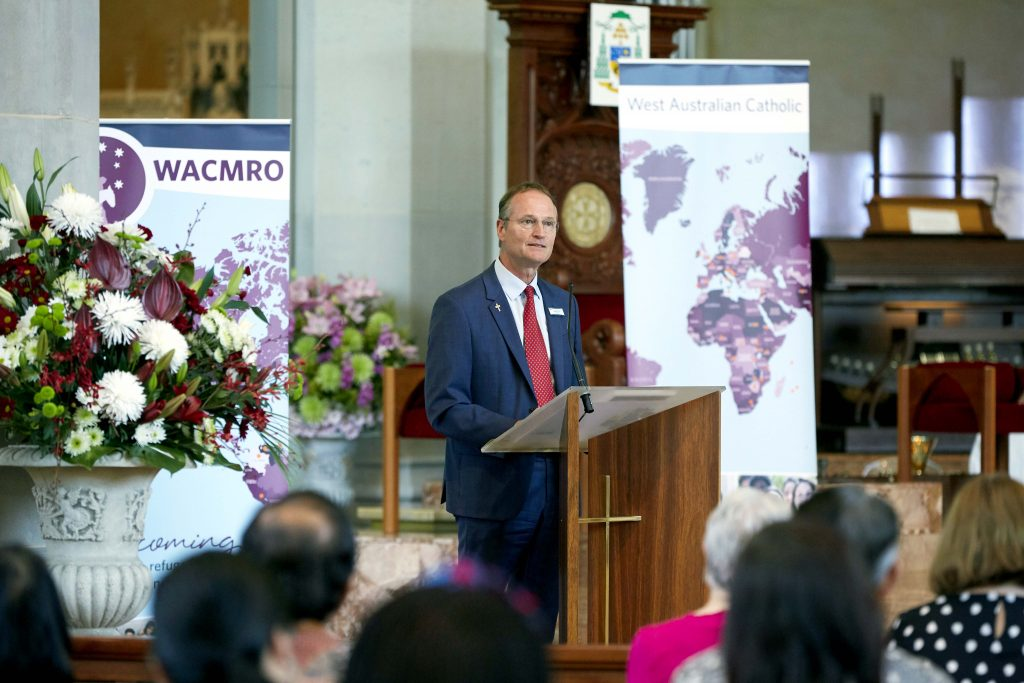 Deacon Greg Lowe, Director of WACMRO, addresses the congregation at last year's Unity and Diversity Mass on 28 October. Photo: Ron Tan.