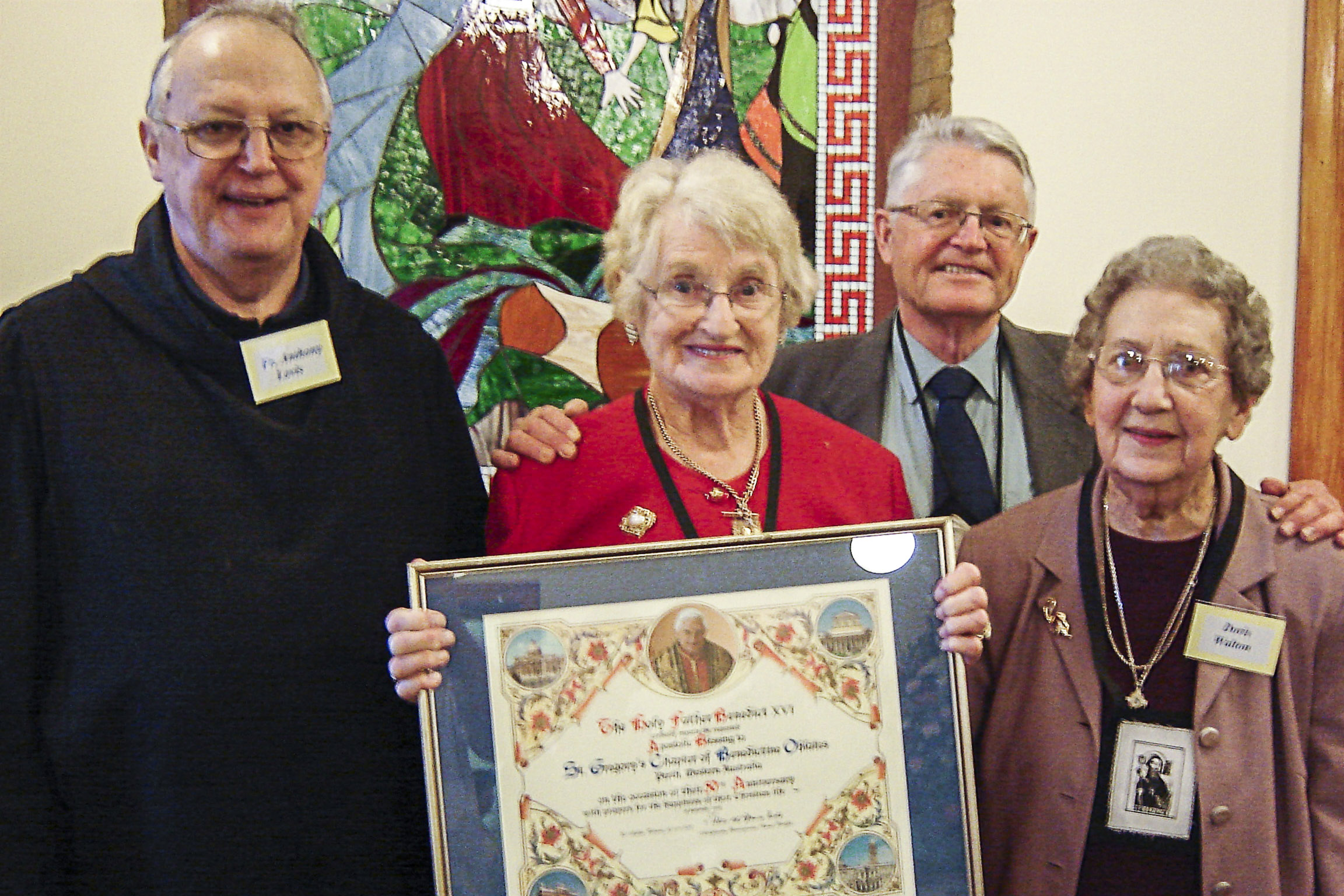 Fr Anthony Lovis OSB, long-time Oblate Adrienne Byrne, Oblate president Tony Smurthwaite and secretary Doris Walton at the 50th anniversary celebration of the founding of the Chapter with an Apostolic Blessing in 2008. Photo: The Record.