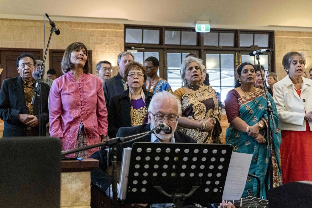 The choir members dressed in their cultural traditional wear participated in the mass held in conjunction with anniversary celebrations of the Good Shepherd Church on 3 September. Photo: Feby Plando.