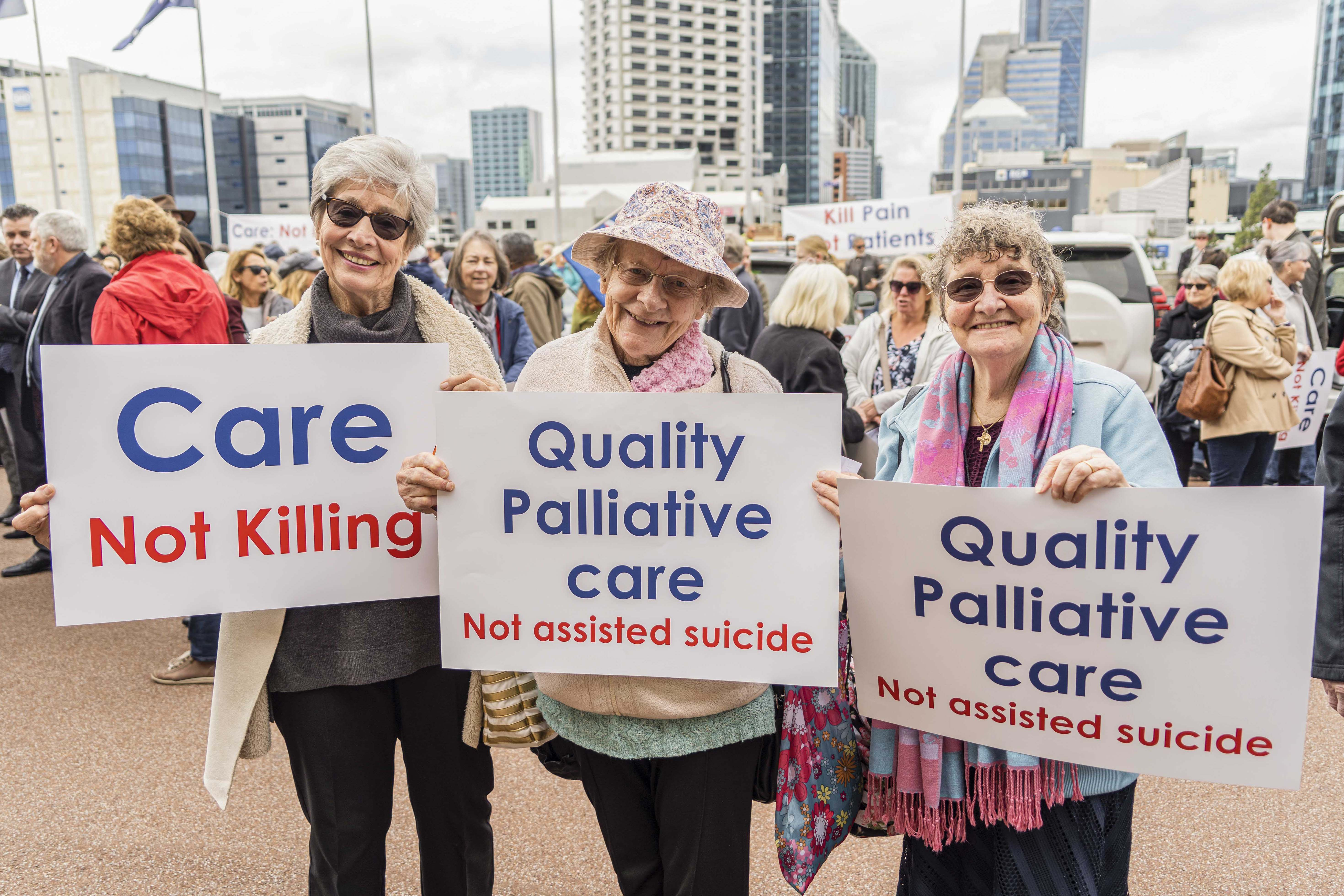 Perth Catholics recently attended a rally at Parliament House in opposition to the VAD laws. Photo: Josh Low.