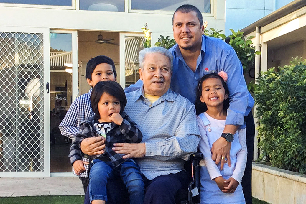 Mercy Place Lathlain resident Gerard Bijoux with his family. Photo: Supplied.